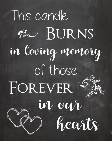 Memory Candle sign. In Loving Memory wedding sign. PRINTABLE chalkboard. this candle burns forever in our hearts. heaven deceased loved ones