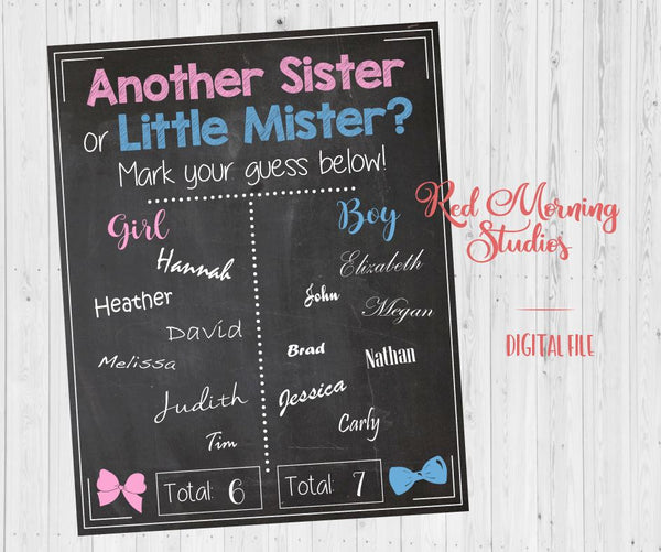 Another Sister or Little Mister Gender Reveal Guess sign - PRINTABLE
