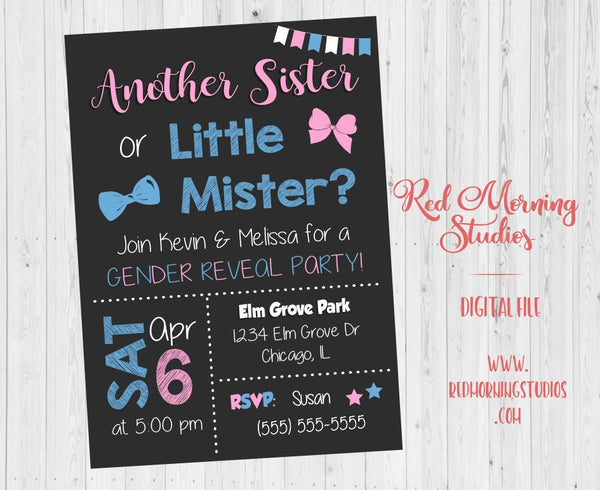 Another Sister or Little Mister Gender Reveal Party Invitation. PRINTABLE. 2nd child baby shower invite. second. sibling daughter. boy girl