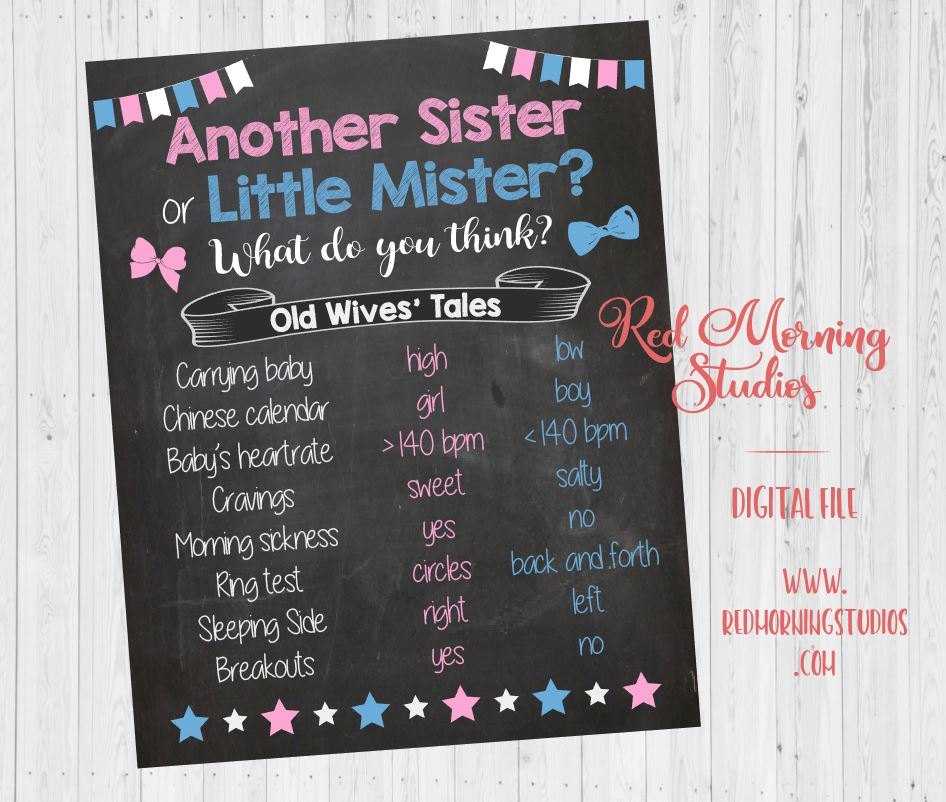 Another Sister or Little Mister Old Wives' Tales sign. PRINTABLE. 2nd child Gender Reveal Guess. sibling baby shower  boy girl. daughter