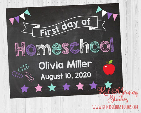 Girl First Day of Homeschool sign. 1st Day of Home School for girls. PRINTABLE. school poster. virtual school. distance learning