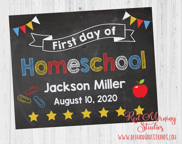 First Day of Homeschool sign. 1st Day of Home School. PRINTABLE. custom school poster. first day of virtual school. distance learning