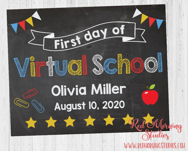 First Day of Virtual School sign. 1st Day of Virtual School. PRINTABLE. custom school poster. first day of homeschool. distance learning