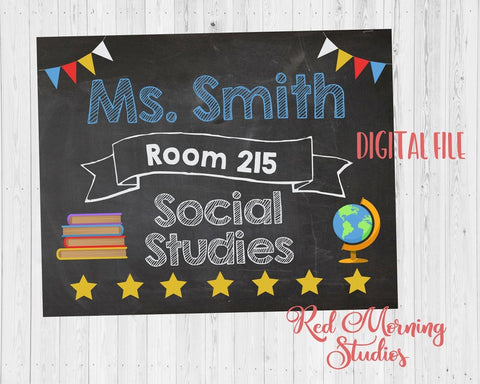 Social Studies Teacher Door Sign. PRINTABLE. History Teacher name room number sign. teacher Classroom Decor Decorations. Back to School