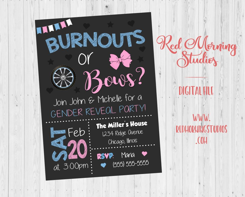 image about Gender Reveal Printable named Burnouts or Bows Gender Clarify Celebration Invitation - PRINTABLE