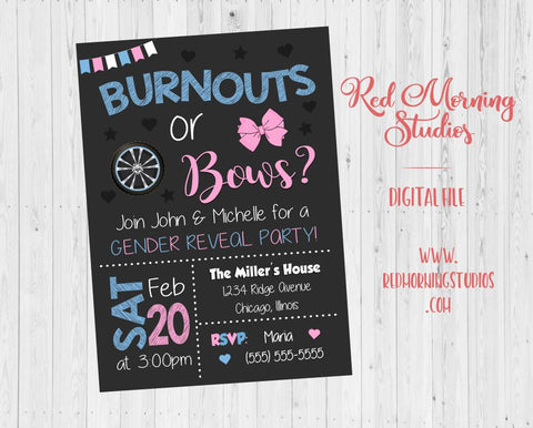 Burnouts or Bows Gender Reveal Invitation. PRINTABLE. baby shower party invite. digital boy or girl invitation. cars wheels trucks