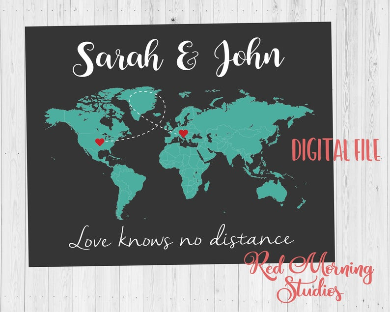 Long Distance Relationship christmas gift world Map Printable love map art print boyfriend gift different countries international