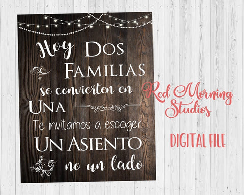 Spanish wedding sign. escoger un asiento no un lado. Pick a Seat Not a Side sign. Rustic wedding sign. Printable. Wedding Seating sign. Choose a seat not a side. digital. instant download.