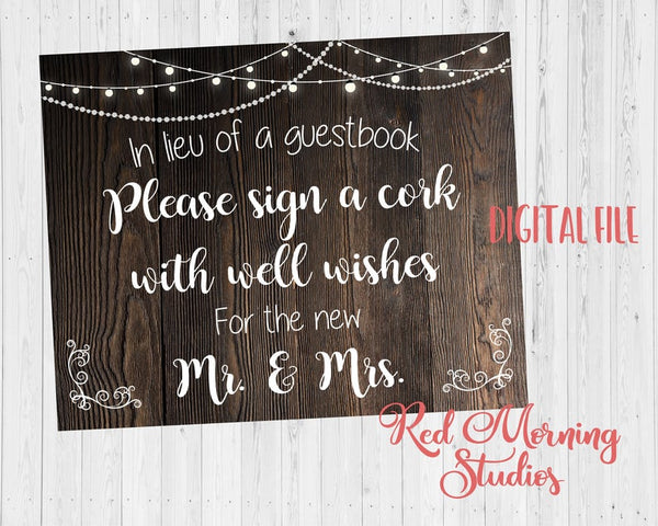 Sign a Cork sign wedding guest book PRINTABLE instant download rustic alternative guestbook wine cork
