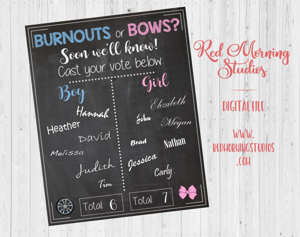 Burnouts or Bows Gender Reveal Guess sign - PRINTABLE