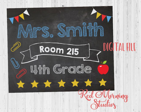 Teacher Classroom Door Sign. PRINTABLE. Teacher name room number sign. Teacher Classroom Decor Decorations. Back to School poster