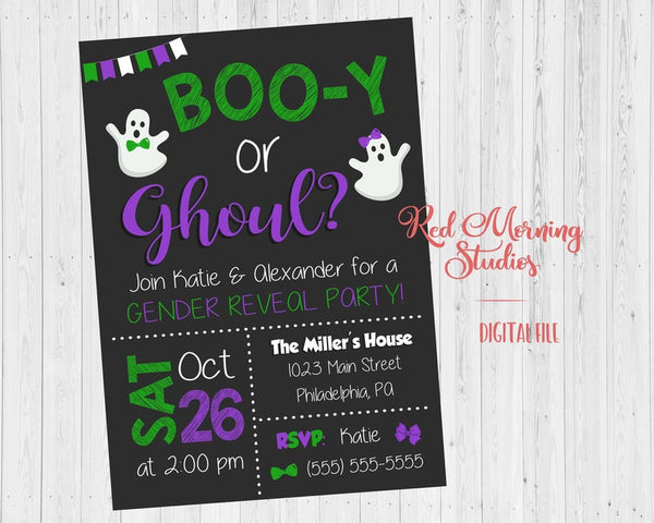Halloween Gender Reveal Party Invitation - PRINTABLE - Green and Purple