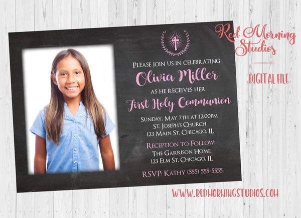 Girl's First Communion Invitation DIGITAL photo 1st holy communion invite, printable party blue picture photograph