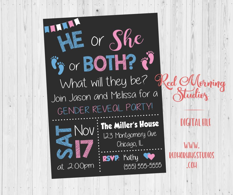 Twin Gender Reveal Party Invitation. PRINTABLE He or She what will they be. baby shower invitation. boy or girl. blue or pink footprints