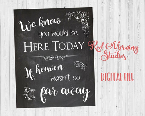 Heaven Wedding sign for the Deceased PRINTABLE