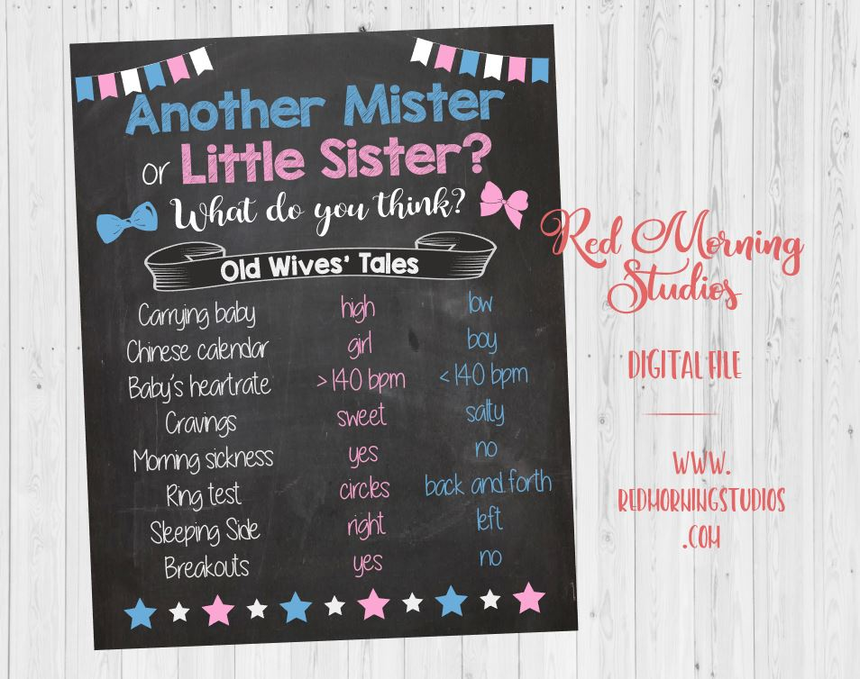 Another Mister or Little Sister Old Wives' Tales sign. PRINTABLE. 2nd child Gender Reveal Guess. sibling baby shower poster boy or girl