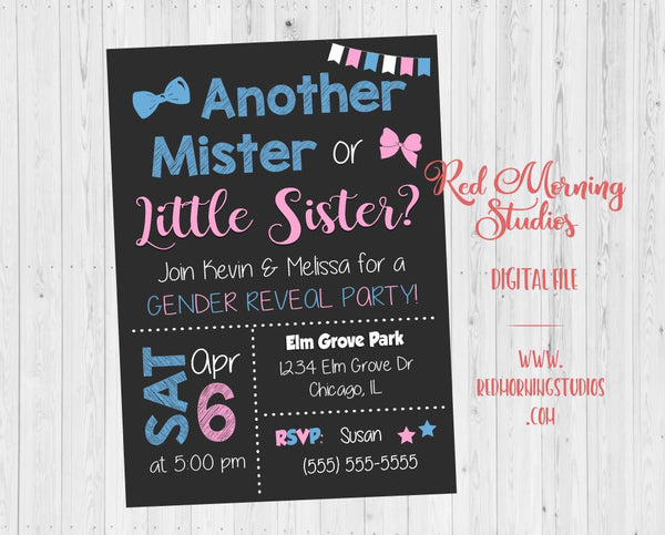Another Mister or Little Sister Gender Reveal Party Invitation. PRINTABLE. 2nd child baby shower invite. second. sibling digital boy or girl