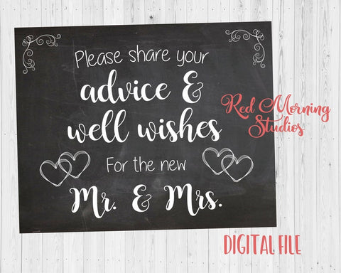 Advice and Well Wishes for the new Mr. and Mrs. DIGITAL Wedding sign
