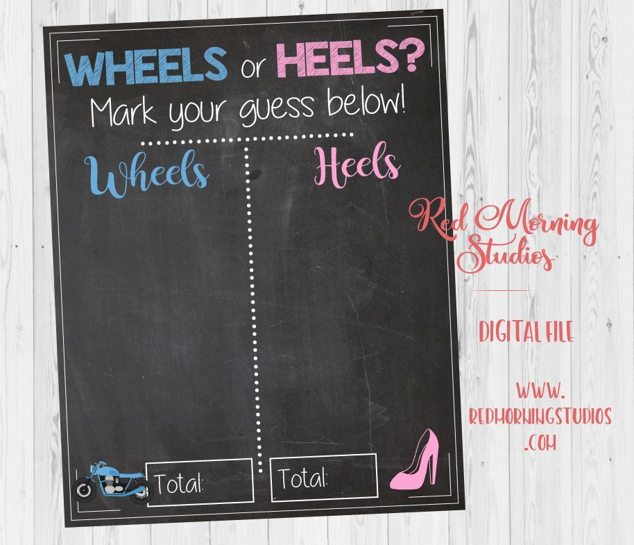 Wheels or Heels Motorcycle Gender Reveal Guess sign. PRINTABLE baby shower chalkboard poster boy or girl. Motorcycle