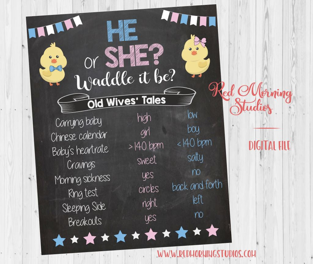 Spring Old Wives' Tales sign. PRINTABLE. Spring chick Gender Reveal Guess game. Spring baby shower poster. boy or girl. waddle it be