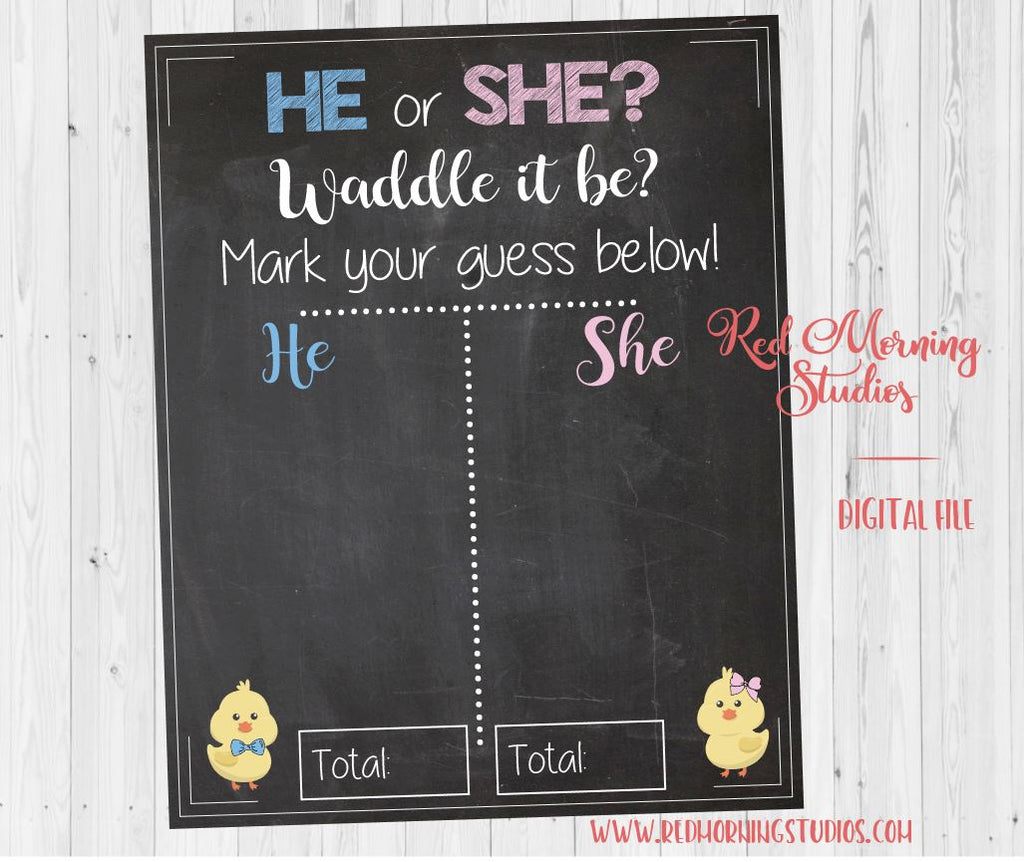 Spring Gender Reveal Guess sign. PRINTABLE. Spring Chick gender reveal. baby shower game boy or girl. he or she poster. waddle it be