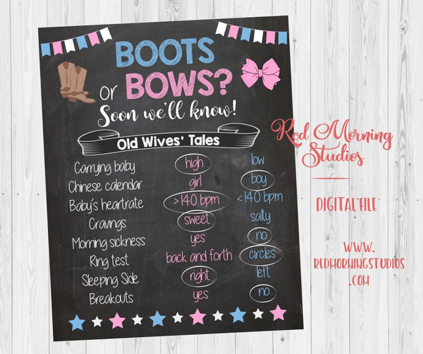 Boots or Bows Old Wives' Tales sign - PRINTABLE