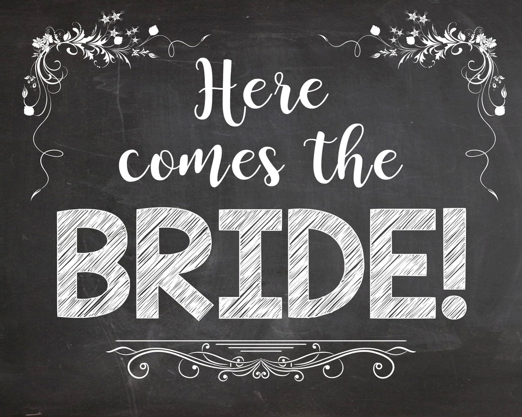 Here Comes the Bride sign PRINTABLE wedding chalkboard digital instant download