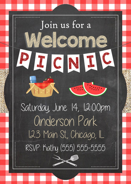 Welcome Party Invitation. PRINTABLE welcome back invitation. welcome picnic invite. welcome home. welcome back to school. first day new year