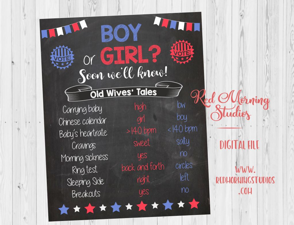 Cast your Vote Old Wives' Tales sign PRINTABLE Gender Reveal Game. Guess baby shower chalkboard poster boy or girl. voter. election
