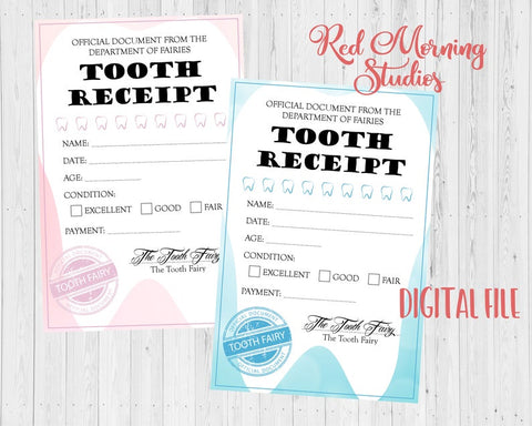 Tooth Fairy Receipt lost tooth PRINTABLE