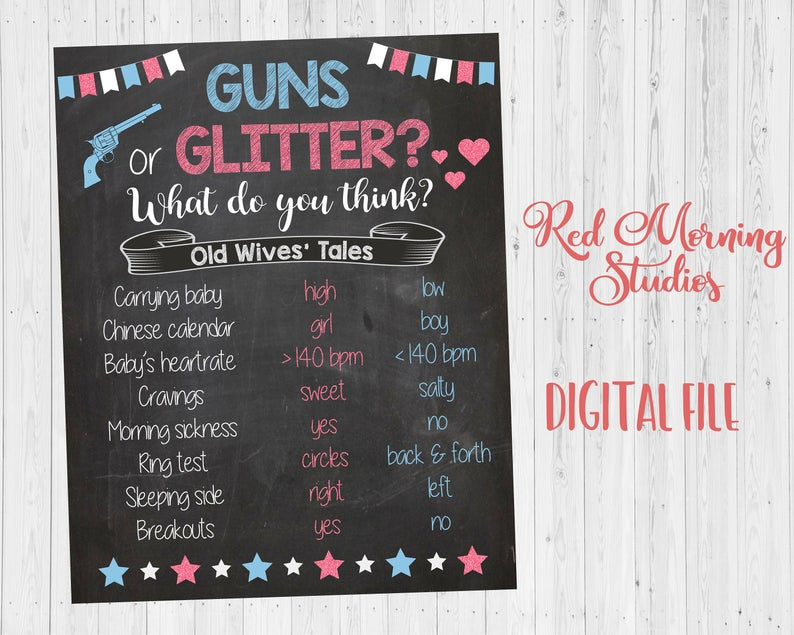 Guns or Glitter Old Wives' Tales sign - PRINTABLE