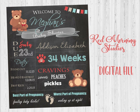 Teddy Bear Baby Shower Welcome Sign Chalkboard. Teddy Bear baby shower decoration game. chalk board digital customizable. PRINTABLE poster