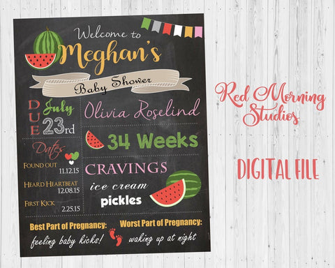 Watermelon Baby Shower Chalkboard Welcome Sign. PRINTABLE poster. Watermelon baby shower decoration. Watermelon shower game. digital custom