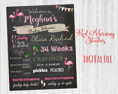 Flamingo Baby Shower Chalkboard Welcome Sign. PRINTABLE poster. Flamingo baby shower decoration. flamingo shower game. digital customizable.