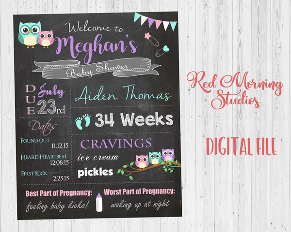Owl Baby Shower Welcome Sign. PRINTABLE owl baby shower chalkboard. DIGITAL chalk board poster. owl baby shower decorations