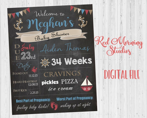 Nautical Baby Shower Welcome Sign. PRINTABLE nautical baby shower chalkboard. custom nautical baby shower decorations games