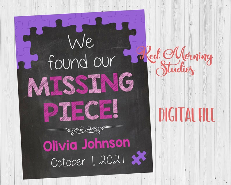 Girl Adoption Day sign. Missing Piece Adoption Announcement Sign. pink purple Adopt Photo Prop. custom personalized poster. printable