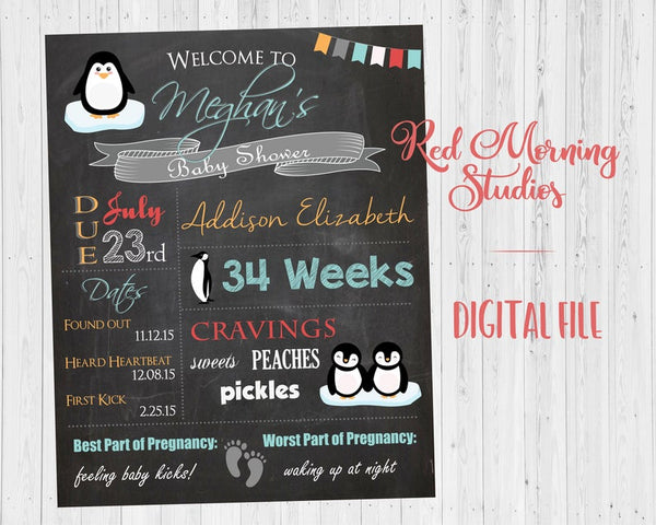 Penguin Baby Shower Chalkboard Welcome Sign. Penguin baby shower decoration. penguin shower game. penguin decor PRINTABLE poster