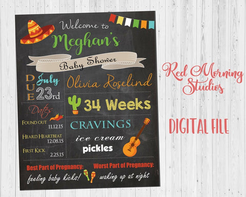 Fiesta Baby Shower Welcome Sign. PRINTABLE mexican baby shower chalkboard. DIGITAL cactus baby shower decorations. custom fiesta shower