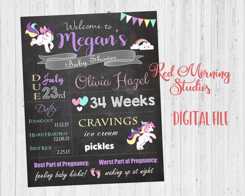Unicorn Baby Shower Welcome Sign. PRINTABLE Unicorn baby shower chalkboard. DIGITAL Unicorn poster. unicorn baby shower decorations
