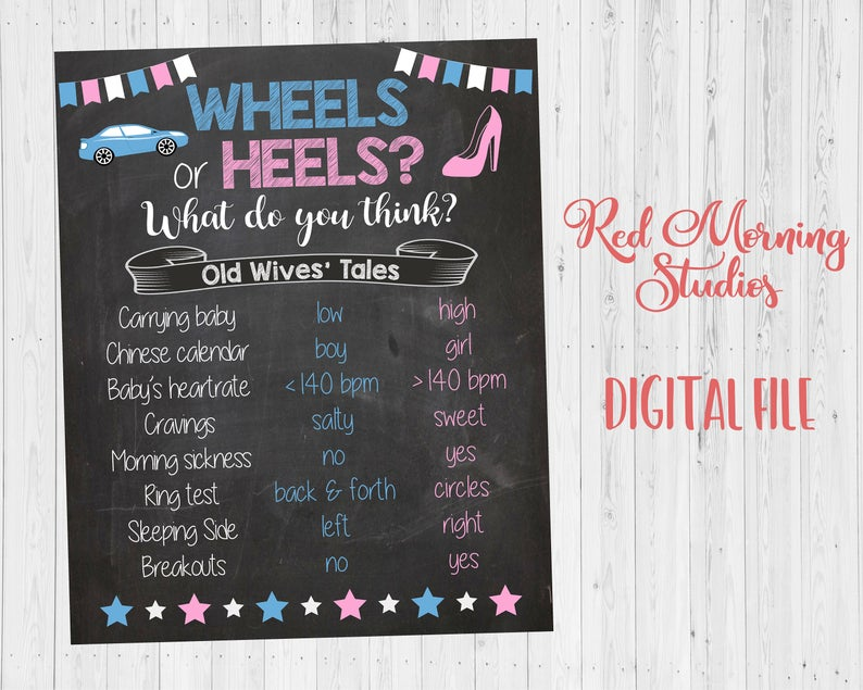 Wheels or Heels Old Wives' Tales sign - PRINTABLE