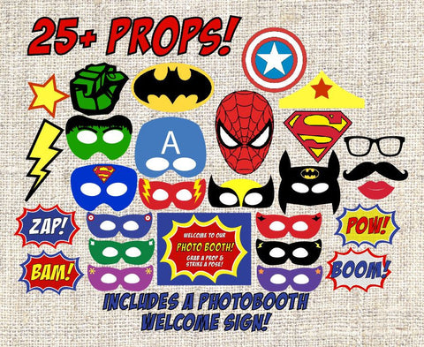 Superhero masks PRINTABLE photo booth props, digital comic book party favors photobooth costumes dress up