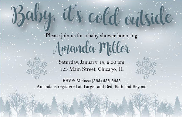 baby it's cold outside. winter wonderland baby shower