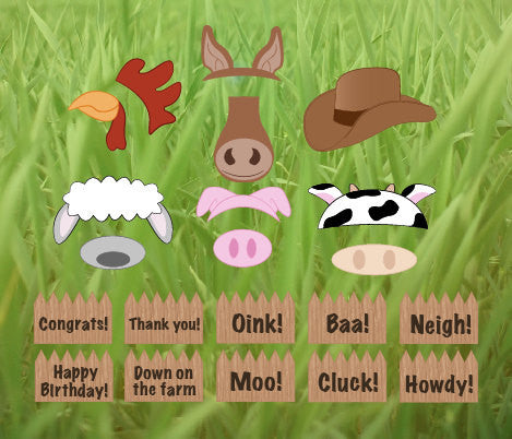 Farm Animals Photo Booth props printable DIY barnyard birthday party photobooth