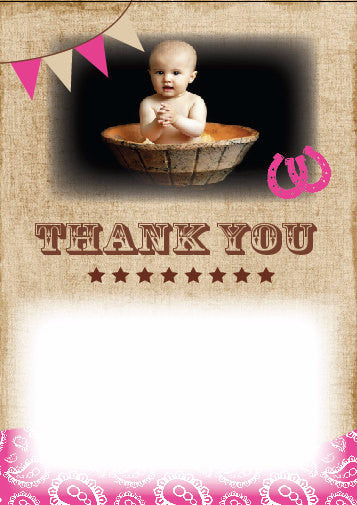 printable Cowgirl Thank You note, pony birthday party country western, pink brown cowboy horse