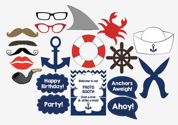 Nautical Photo Booth Props printable DIY sailor birthday party photobooth