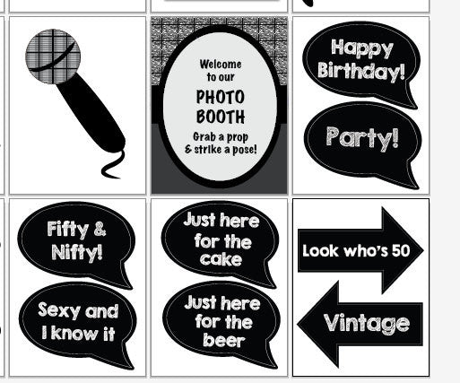 50th Birthday Party Photo Booth Props. PRINTABLE