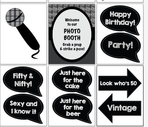 60th Birthday photo booth props. PRINTABLE