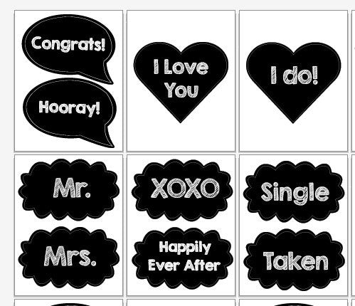 Wedding speech bubbles Photo Booth Props PRINTABLE