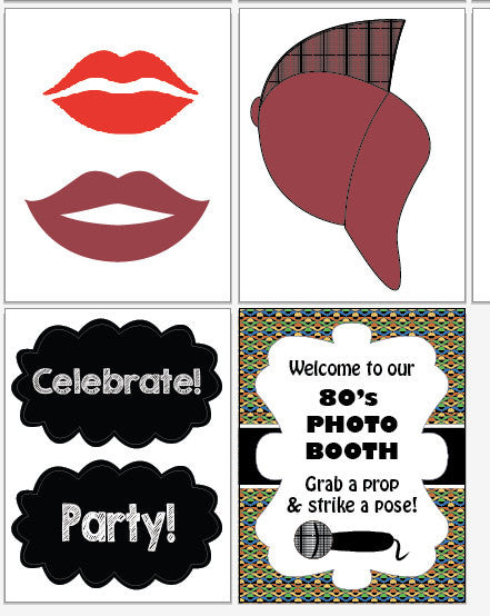 1980s Photo Booth Props PRINTABLE